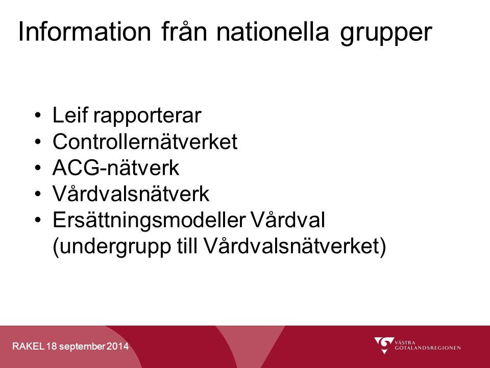 RAKEL 18 september 2014 Information från nationella grupper Leif rapporterar Controllernätverket ACG-nätverk Vårdvalsnätverk Ersättningsmodeller Vårdv