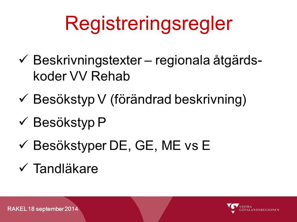 RAKEL 18 september 2014 Registreringsregler Beskrivningstexter – regionala åtgärds- koder VV Rehab Besökstyp V (förändrad beskrivning) Besökstyp P Bes