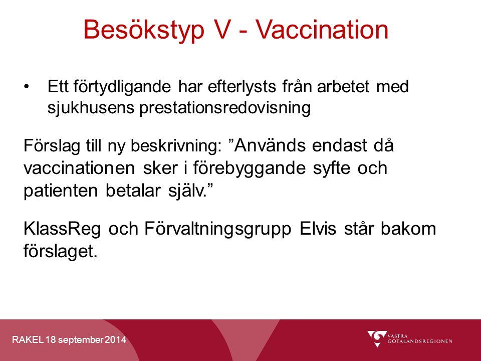 RAKEL 18 september 2014 Besökstyp V - Vaccination Ett förtydligande har efterlysts från arbetet med sjukhusens prestationsredovisning Förslag till ny