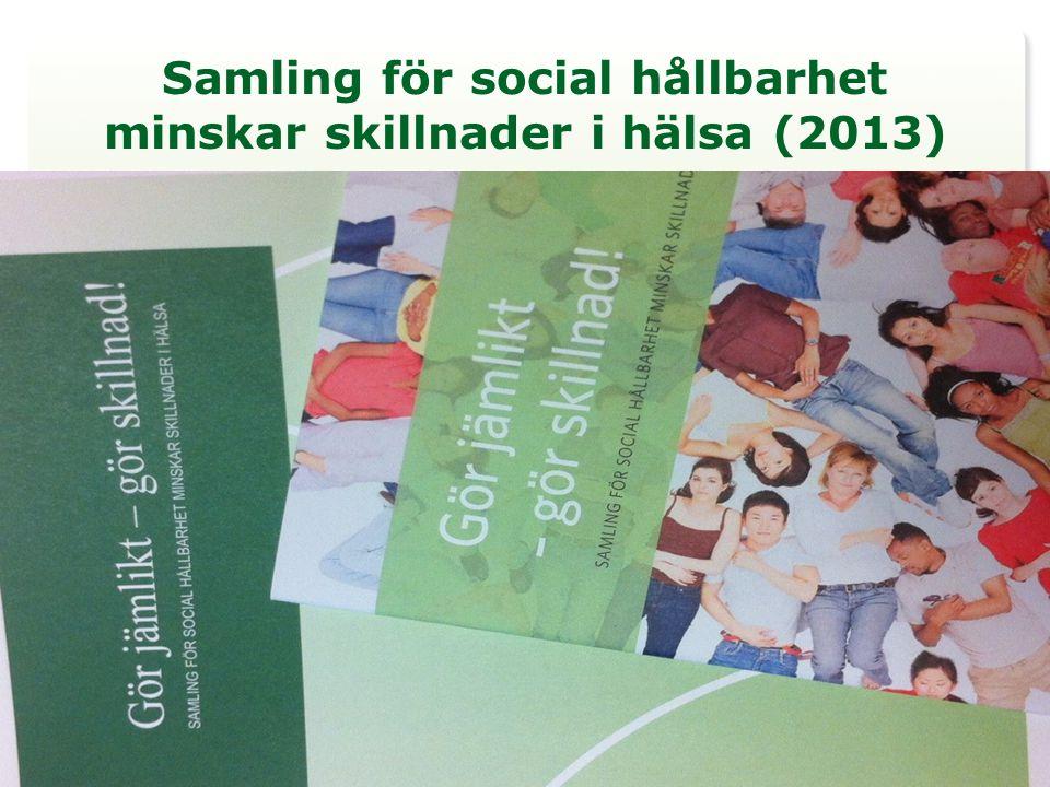 5 rekommendationer och 23 åtgärder 1.Integrera jämlikhet i hälsa i all politik och i ordinarie styrning och ledning 2.Mät och analysera problemet och bedöm effekterna av olika åtgärder 3.Ge alla barn och unga en bra start i livet 4.Ge alla förutsättningar till egen försörjning 5.Skapa hälsofrämjande och hållbara miljöer och samhällen Kommuner, landsting, regioner, stat, EU, idéburen sektor, näringsliv och högskola/universitet bidrar till att göra jämlikt och därmed göra skillnad!
