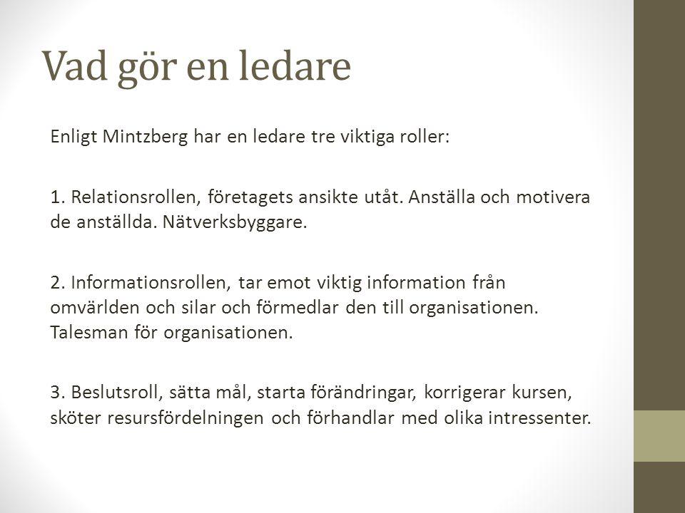 Vad gör en ledare Enligt Mintzberg har en ledare tre viktiga roller: 1.