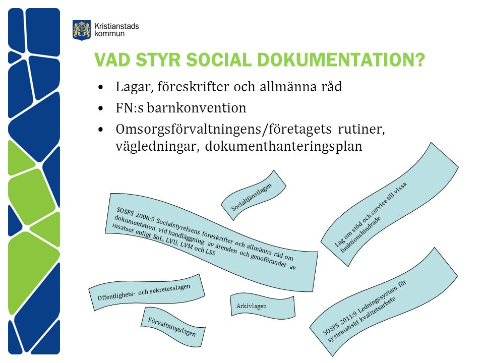 VAD STYR SOCIAL DOKUMENTATION? Lagar, föreskrifter och allmänna råd FN:s barnkonvention Omsorgsförvaltningens/företagets rutiner, vägledningar, dokume