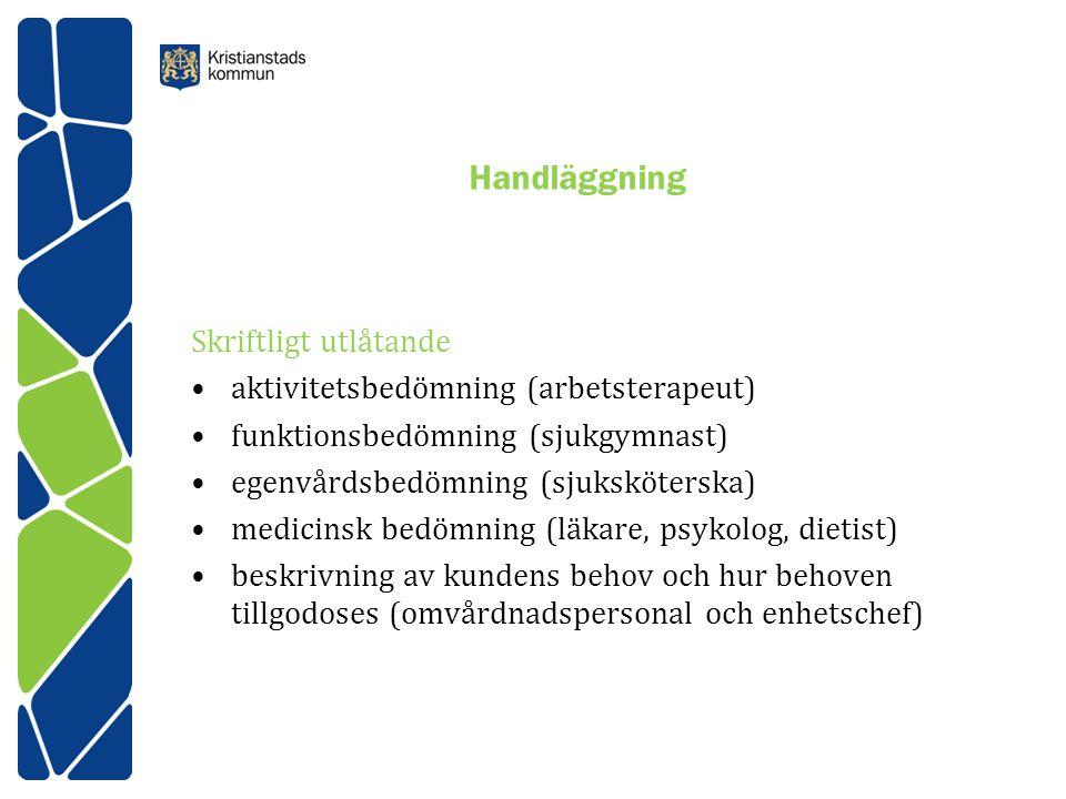 Handläggning Skriftligt utlåtande aktivitetsbedömning (arbetsterapeut) funktionsbedömning (sjukgymnast) egenvårdsbedömning (sjuksköterska) medicinsk b