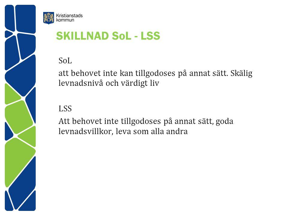 SKILLNAD SoL - LSS SoL att behovet inte kan tillgodoses på annat sätt.
