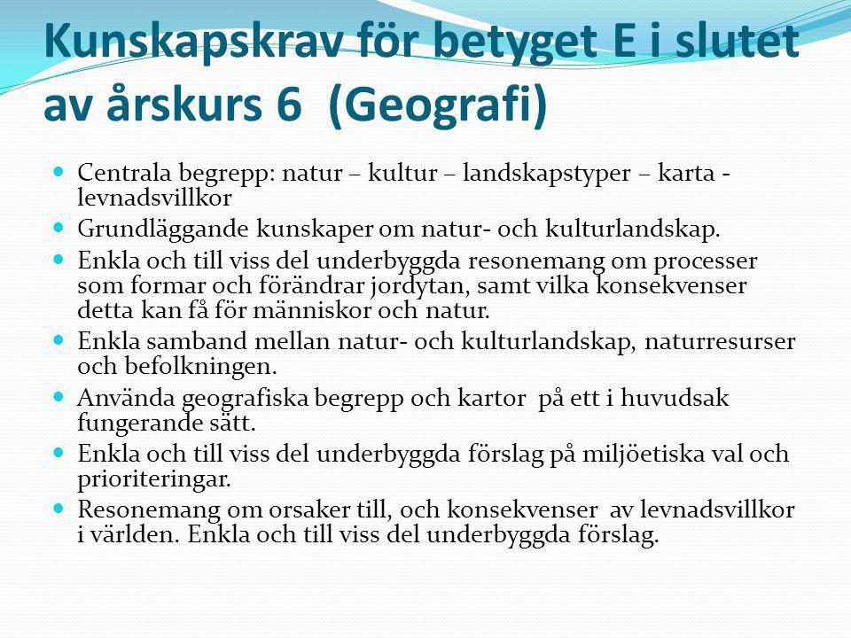 Kunskapskrav för betyget E i slutet av årskurs 6 (Geografi) Centrala begrepp: natur – kultur – landskapstyper – karta - levnadsvillkor Grundläggande k