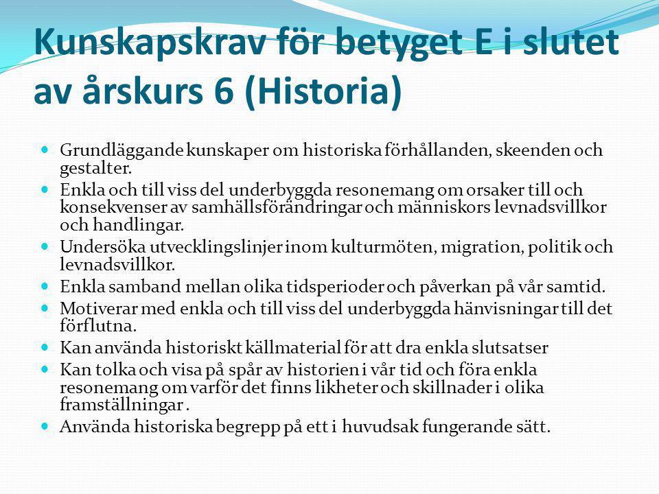 Kunskapskrav för betyget E i slutet av årskurs 6 (Historia) Grundläggande kunskaper om historiska förhållanden, skeenden och gestalter. Enkla och till