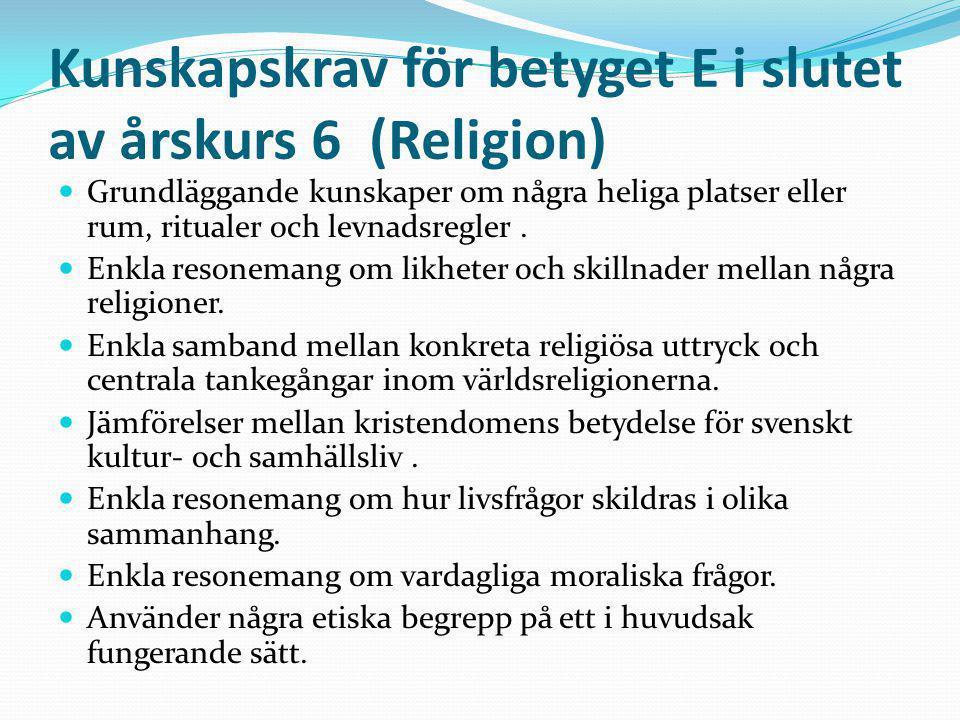Kunskapskrav för betyget E i slutet av årskurs 6 (Religion) Grundläggande kunskaper om några heliga platser eller rum, ritualer och levnadsregler. Enk
