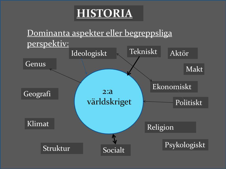 Dominanta aspekter eller begreppsliga perspektiv: HISTORIA 2:a världskriget Politiskt Ekonomiskt Makt Psykologiskt Socialt Tekniskt IdeologisktAktör S