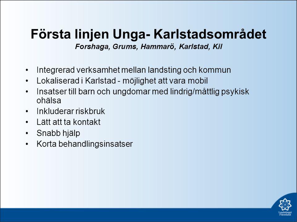Första linjen Unga- Karlstadsområdet Forshaga, Grums, Hammarö, Karlstad, Kil Integrerad verksamhet mellan landsting och kommun Lokaliserad i Karlstad