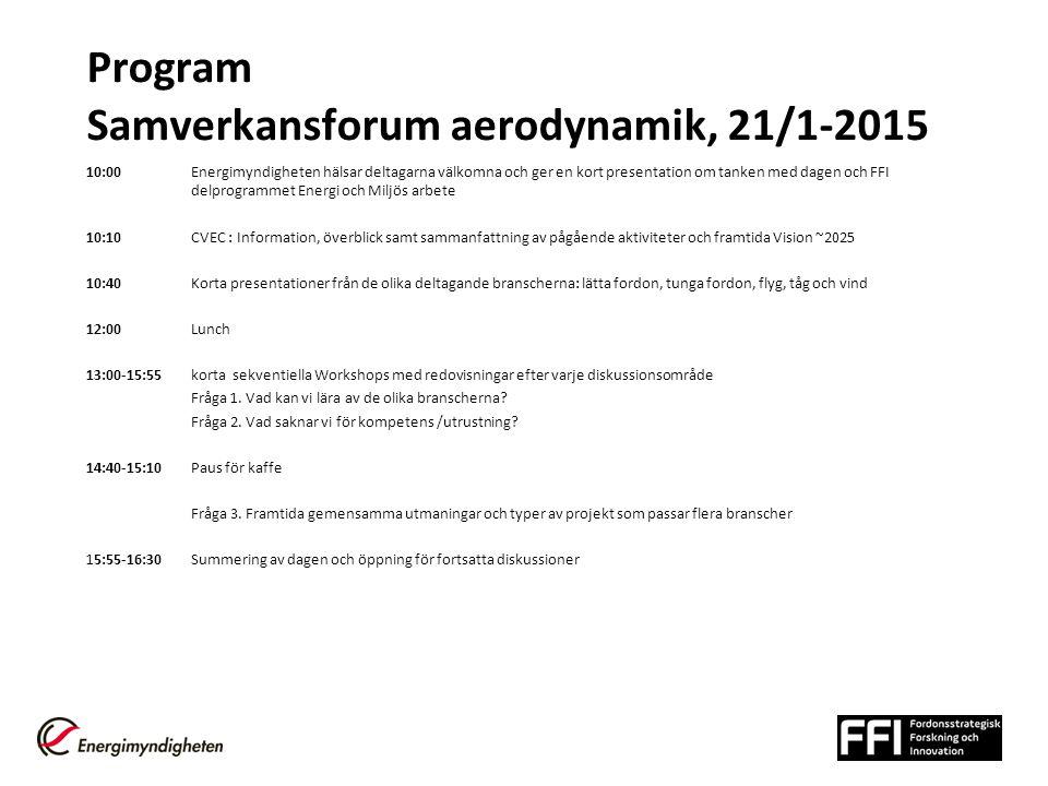 Program Samverkansforum aerodynamik, 21/1-2015 10:00 Energimyndigheten hälsar deltagarna välkomna och ger en kort presentation om tanken med dagen och FFI delprogrammet Energi och Miljös arbete 10:10CVEC : Information, överblick samt sammanfattning av pågående aktiviteter och framtida Vision ~2025 10:40Korta presentationer från de olika deltagande branscherna: lätta fordon, tunga fordon, flyg, tåg och vind 12:00Lunch 13:00-15:55 korta sekventiella Workshops med redovisningar efter varje diskussionsområde Fråga 1.