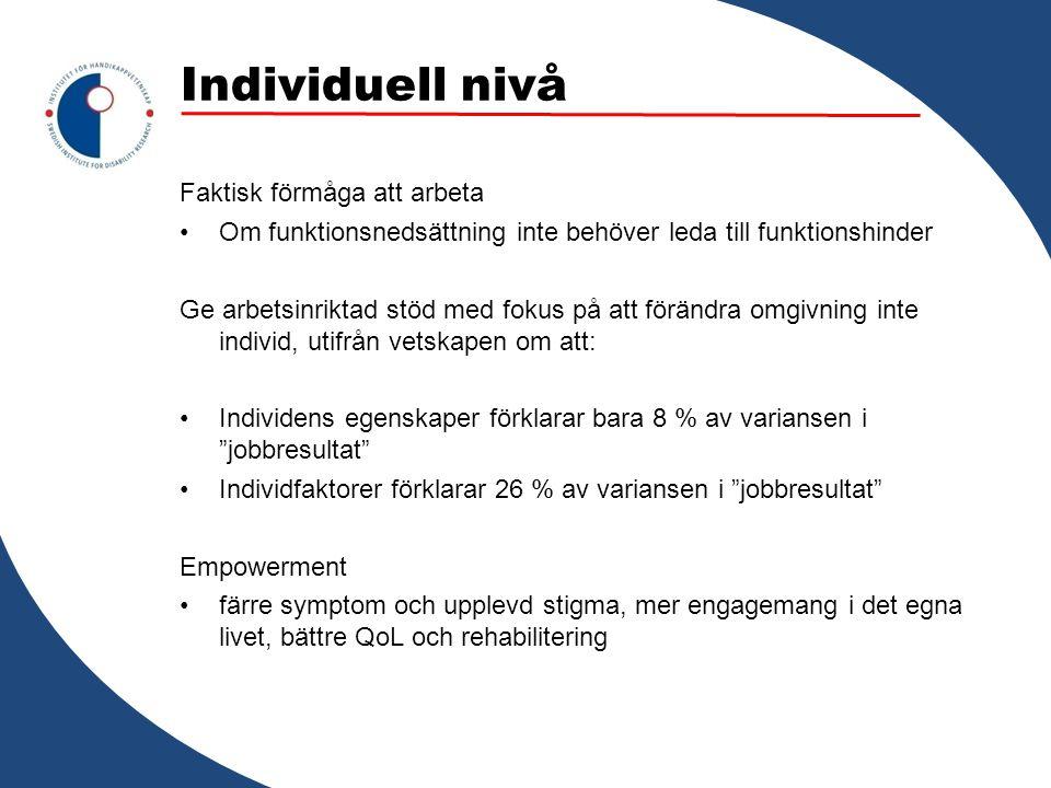 Individuell nivå Faktisk förmåga att arbeta Om funktionsnedsättning inte behöver leda till funktionshinder Ge arbetsinriktad stöd med fokus på att för