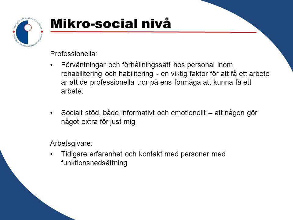 Mikro-social nivå Professionella: Förväntningar och förhållningssätt hos personal inom rehabilitering och habilitering - en viktig faktor för att få e