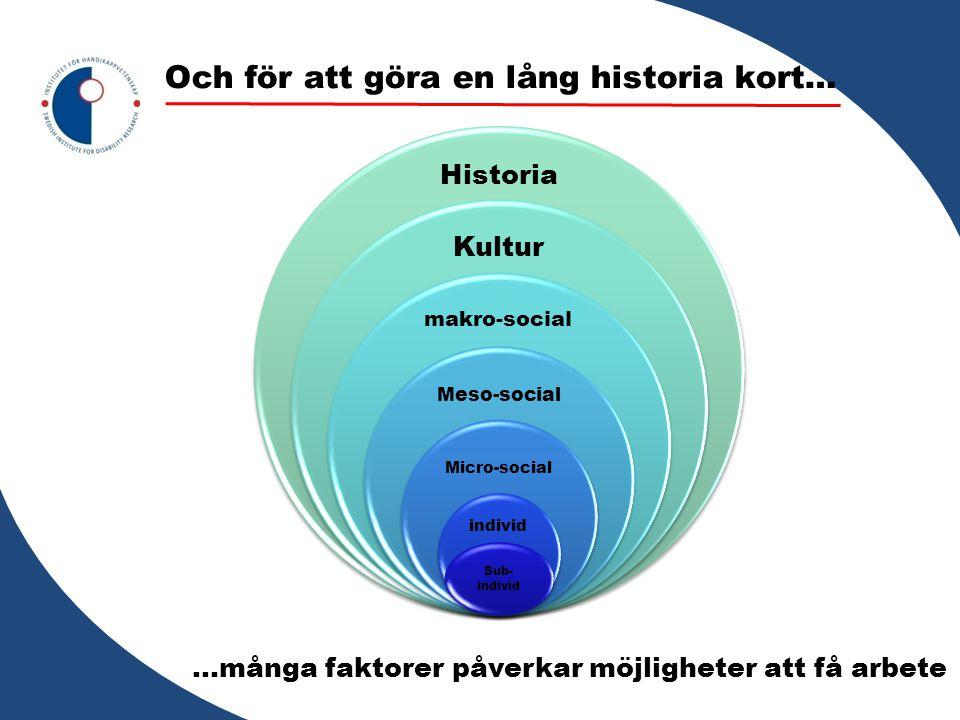 Och för att göra en lång historia kort… Historia Kultur makro-social Meso-social Micro-social individ Sub- individ …många faktorer påverkar möjlighete