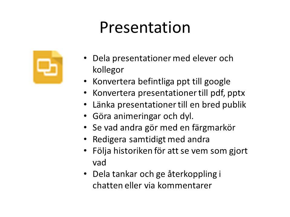 Presentation Dela presentationer med elever och kollegor Konvertera befintliga ppt till google Konvertera presentationer till pdf, pptx Länka presenta