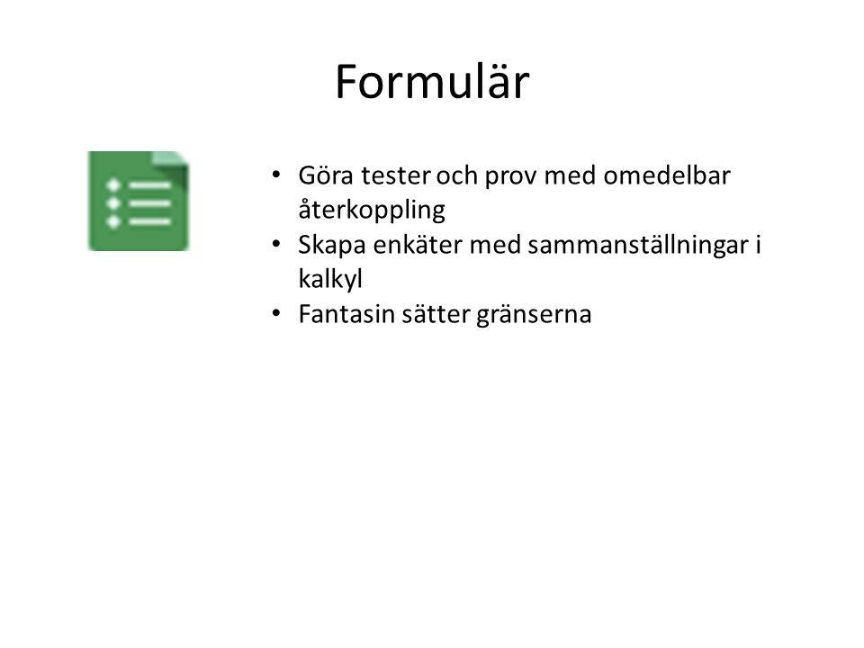 Delade mappar Skapade dokument mm delas omedelbart med alla som mappen är delad med Ger en tydlig struktur för klassen/arbetslaget/skolan