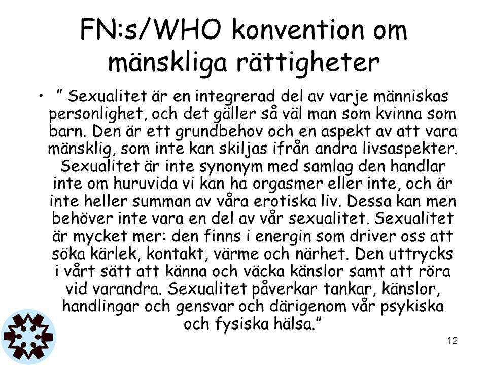 """FN:s/WHO konvention om mänskliga rättigheter """" Sexualitet är en integrerad del av varje människas personlighet, och det gäller så väl man som kvinna s"""