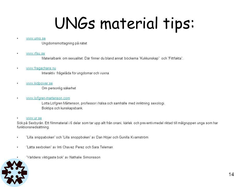 """UNGs material tips: www.umo.se Ungdomsmottagning på nätet www.rfsu.se Materialbank om sexualitet. Där finner du bland annat böckerna """"Kukkunskap"""" och"""