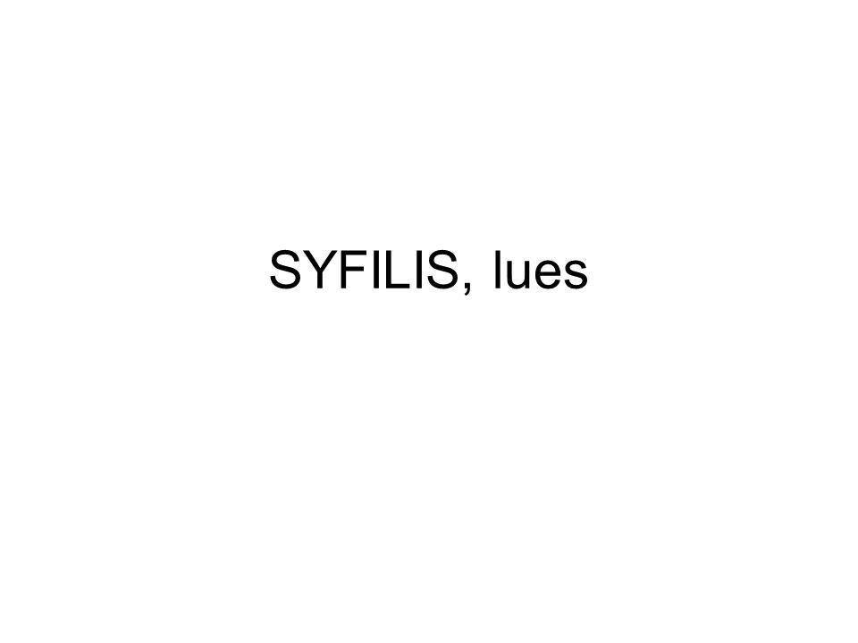 Behandling Tardocillin im 1g/vecka i 2 veckor vid tidig och 3 veckor vid sen syfilis Doxycyklin 100mgx2 i 15 dagar vid tidig och 30 dagar vid sen syfilis Neurolues: Bensyl-pc iv
