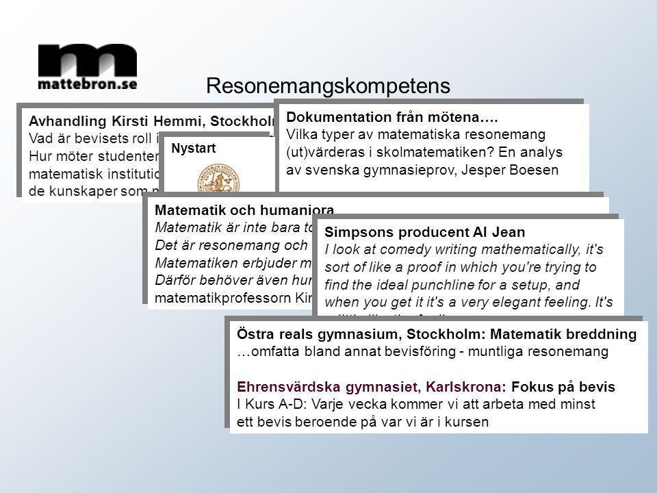 Avhandling Kirsti Hemmi, Stockholms universitet Vad är bevisets roll i matematiken och i matematikundervisningen? Hur möter studenter bevis i den mate