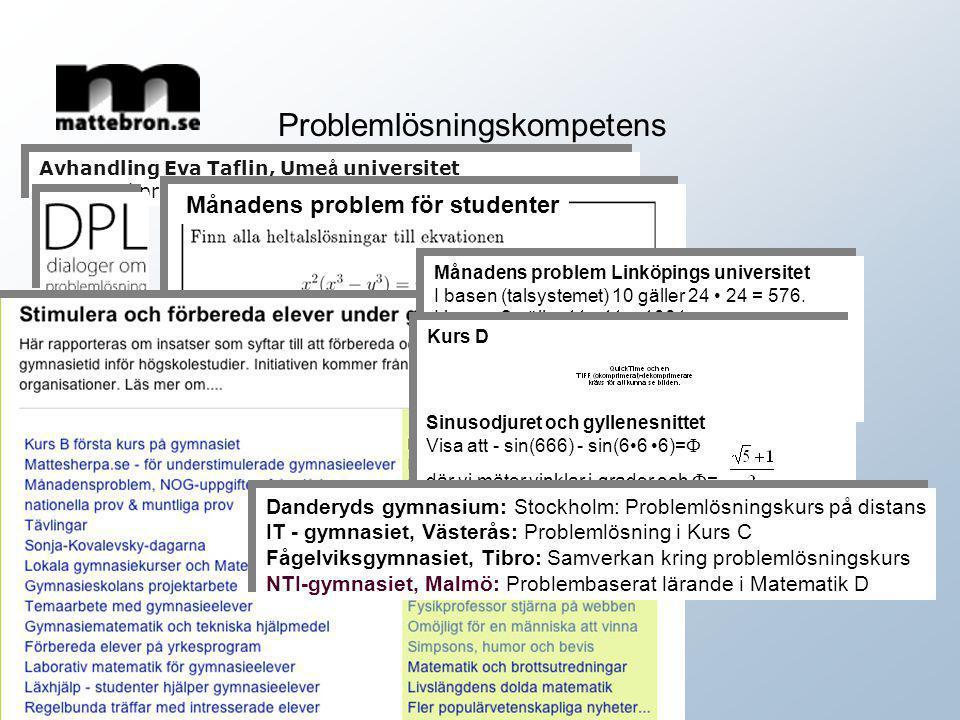 Problemlösningskompetens Avhandling Eva Taflin, Ume å universitet Matematikproblem i skolan – f ö r att skapa tillf ä llen till l ä rande. Avhandling