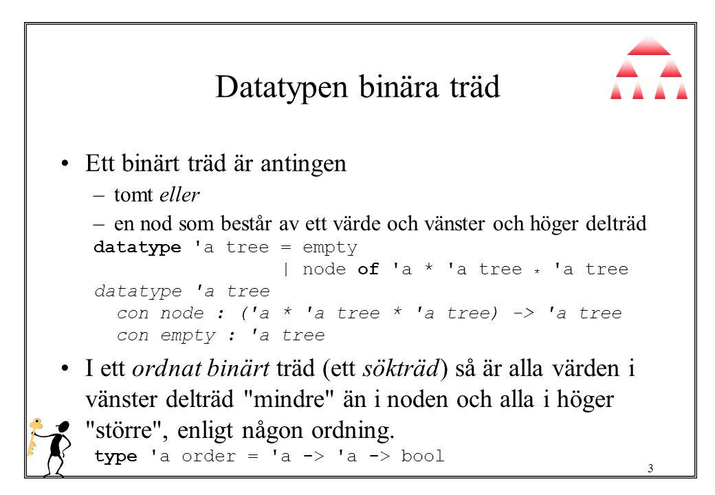 3 Datatypen binära träd Ett binärt träd är antingen –tomt eller –en nod som består av ett värde och vänster och höger delträd datatype a tree = empty | node of a * a tree * a tree datatype a tree con node : ( a * a tree * a tree) -> a tree con empty : a tree I ett ordnat binärt träd (ett sökträd) så är alla värden i vänster delträd mindre än i noden och alla i höger större , enligt någon ordning.