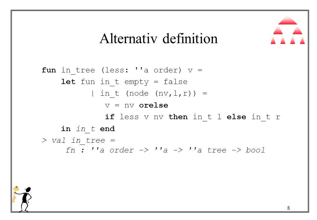 9 Avgöra om ett villkor uppfylls av ett träd Djupet först fun dfind p empty = false   dfind p (node (v, l, r)) = p v orelse dfind p l orelse dfind p r > val dfind = fn : ( a -> bool) -> a tree -> bool Bredden först fun bfind p t = let fun bp nil = false   bp (empty :: xs) = bp xs   bp (node (v, l, r) :: xs) = p v orelse bp (xs @ [l,r]) in bp [t] end val bfind = fn : ( a -> bool) -> a tree -> bool