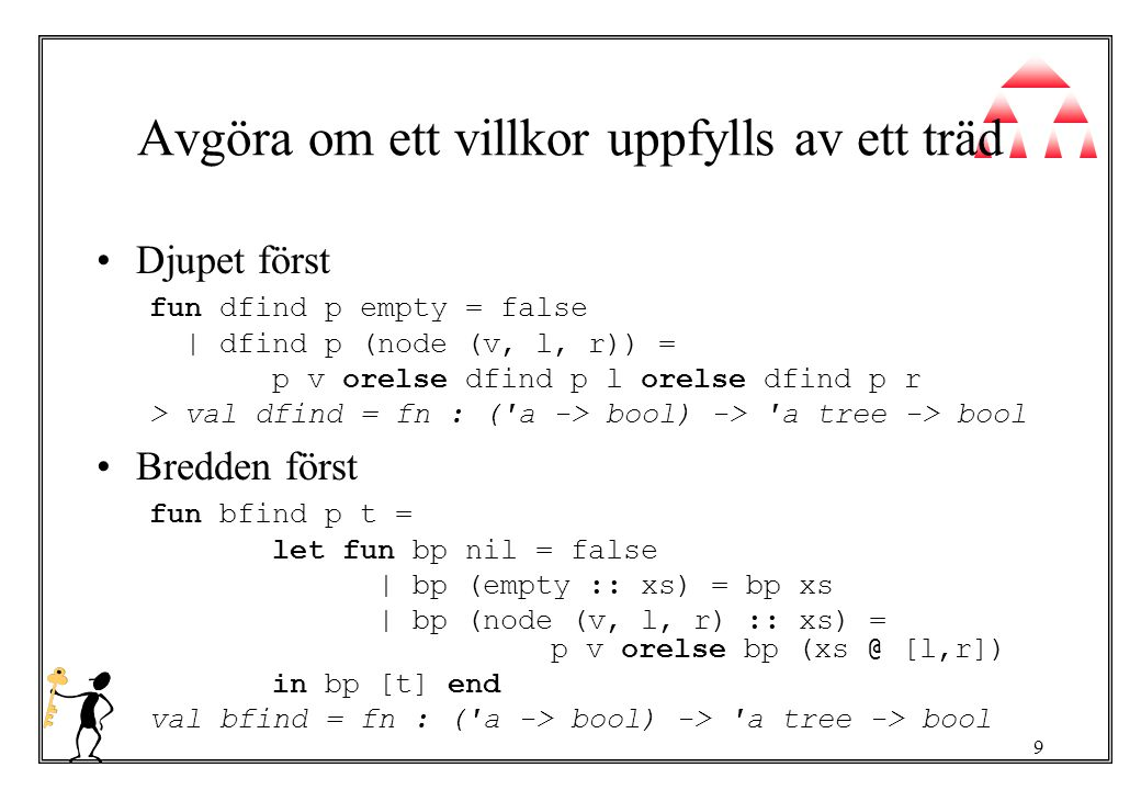 9 Avgöra om ett villkor uppfylls av ett träd Djupet först fun dfind p empty = false | dfind p (node (v, l, r)) = p v orelse dfind p l orelse dfind p r > val dfind = fn : ( a -> bool) -> a tree -> bool Bredden först fun bfind p t = let fun bp nil = false | bp (empty :: xs) = bp xs | bp (node (v, l, r) :: xs) = p v orelse bp (xs @ [l,r]) in bp [t] end val bfind = fn : ( a -> bool) -> a tree -> bool