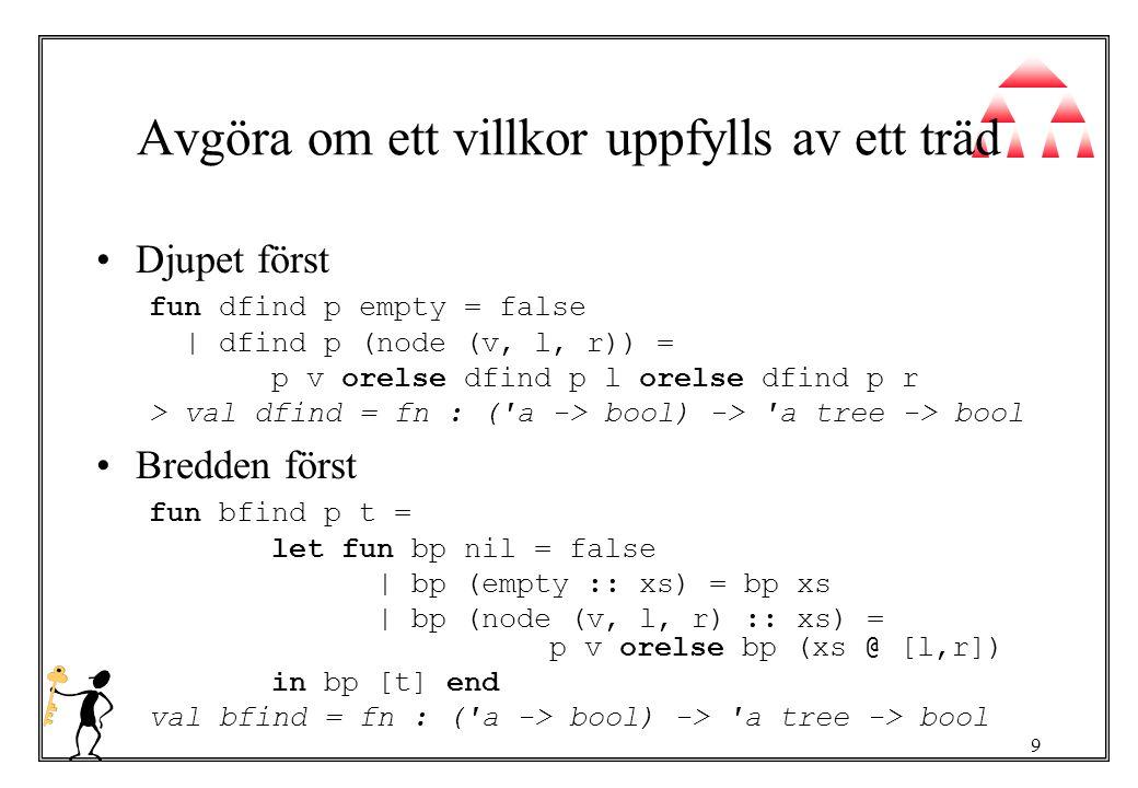 10 Lövade träd datatype a ltree = leaf of a   node of a ltree * a ltree datatype a ltree con node : ( a ltree * a ltree) -> a ltree con leaf : a -> a ltree fun rand (leaf x) = [x]   rand (node (l,r)) = rand l @ rand r > val rand = fn : a ltree -> a list fun randa xs (leaf x) = x :: xs   randa xs (node (l,r)) = randa (randa xs r) l > val randa = fn : a list -> ( a ltree -> a list)