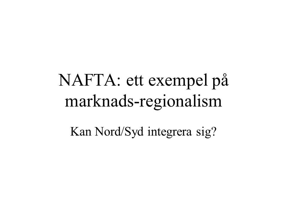 NAFTA: ett exempel på marknads-regionalism Kan Nord/Syd integrera sig?