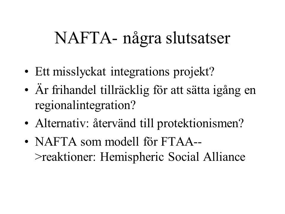 NAFTA- några slutsatser Ett misslyckat integrations projekt? Är frihandel tillräcklig för att sätta igång en regionalintegration? Alternativ: återvänd
