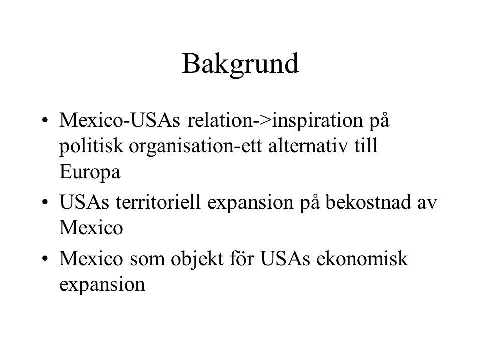 Bakgrund Mexico-USAs relation->inspiration på politisk organisation-ett alternativ till Europa USAs territoriell expansion på bekostnad av Mexico Mexi