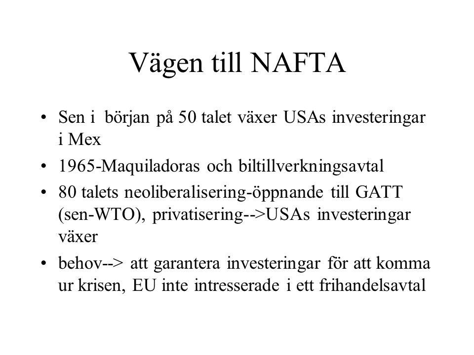 Vägen till NAFTA Sen i början på 50 talet växer USAs investeringar i Mex 1965-Maquiladoras och biltillverkningsavtal 80 talets neoliberalisering-öppna