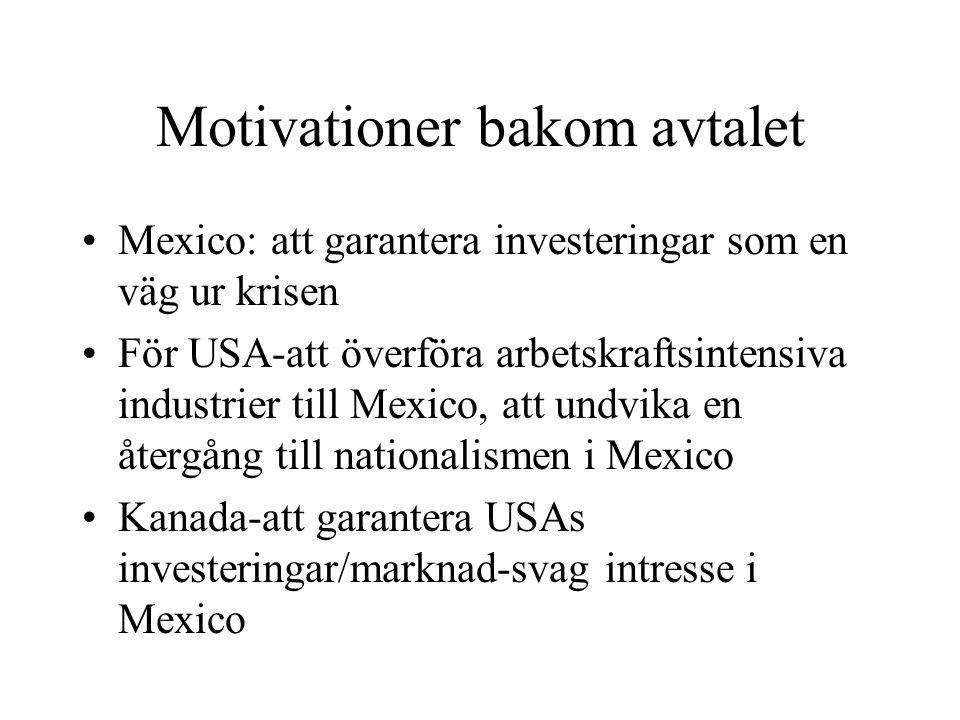 Motivationer bakom avtalet Mexico: att garantera investeringar som en väg ur krisen För USA-att överföra arbetskraftsintensiva industrier till Mexico,