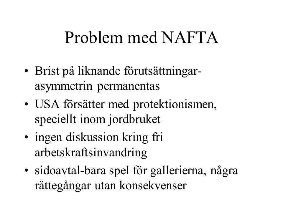 Problem med NAFTA Brist på liknande förutsättningar- asymmetrin permanentas USA försätter med protektionismen, speciellt inom jordbruket ingen diskuss