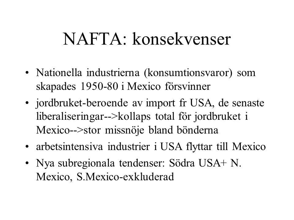 NAFTA: konsekvenser Nationella industrierna (konsumtionsvaror) som skapades 1950-80 i Mexico försvinner jordbruket-beroende av import fr USA, de senas