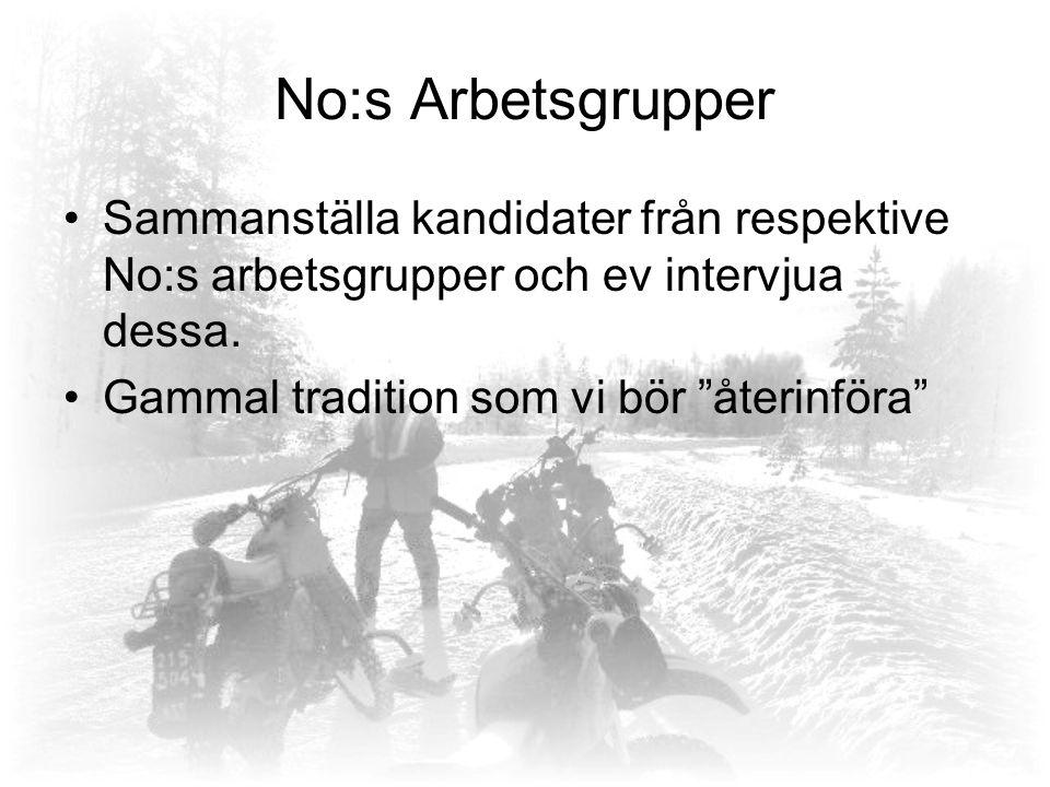 No:s Arbetsgrupper Sammanställa kandidater från respektive No:s arbetsgrupper och ev intervjua dessa.