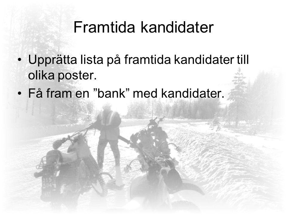 Framtida kandidater Upprätta lista på framtida kandidater till olika poster.