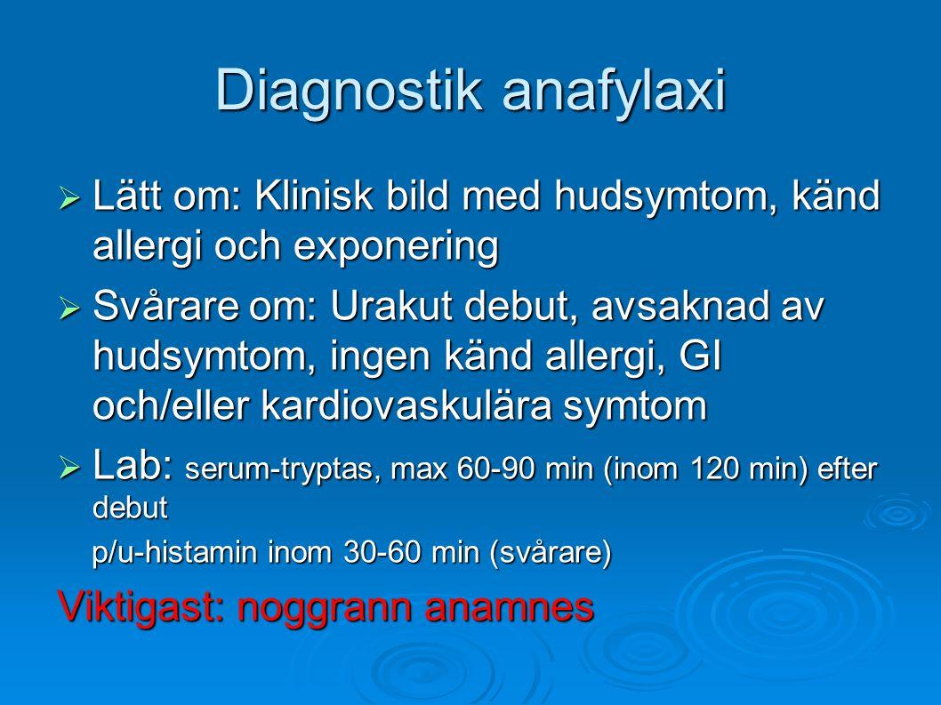 Diagnostik anafylaxi  Lätt om: Klinisk bild med hudsymtom, känd allergi och exponering  Svårare om: Urakut debut, avsaknad av hudsymtom, ingen känd allergi, GI och/eller kardiovaskulära symtom  Lab: serum-tryptas, max 60-90 min (inom 120 min) efter debut p/u-histamin inom 30-60 min (svårare) p/u-histamin inom 30-60 min (svårare) Viktigast: noggrann anamnes