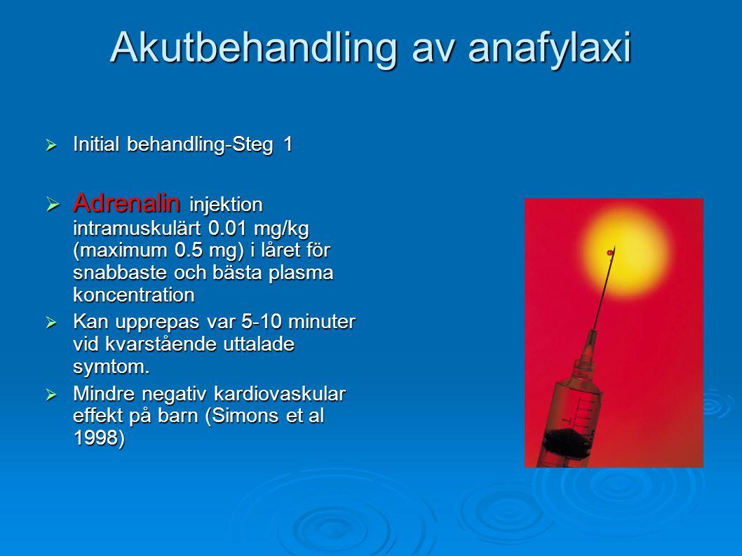 Akutbehandling av anafylaxi  Initial behandling-Steg 1  Adrenalin injektion intramuskulärt 0.01 mg/kg (maximum 0.5 mg) i låret för snabbaste och bästa plasma koncentration  Kan upprepas var 5-10 minuter vid kvarstående uttalade symtom.