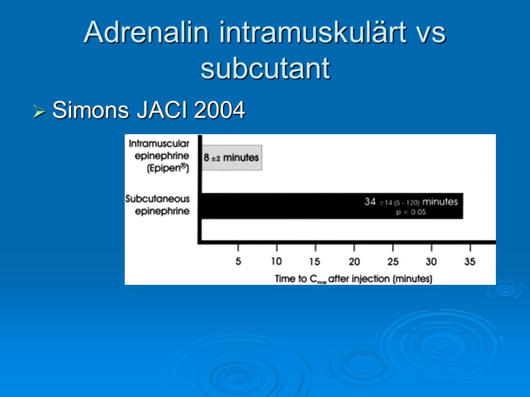 Adrenalin intramuskulärt vs subcutant  Simons JACI 2004