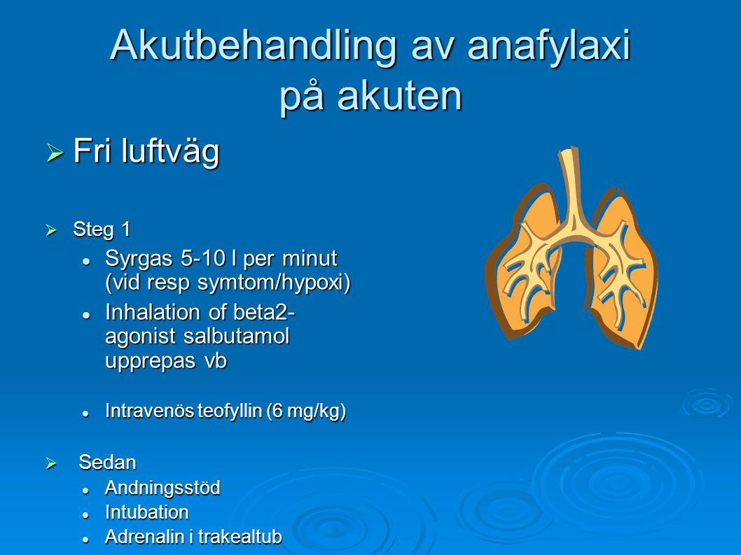 Akutbehandling av anafylaxi på akuten  Fri luftväg  Steg 1 Syrgas 5-10 l per minut (vid resp symtom/hypoxi) Syrgas 5-10 l per minut (vid resp symtom/hypoxi) Inhalation of beta2- agonist salbutamol upprepas vb Inhalation of beta2- agonist salbutamol upprepas vb Intravenös teofyllin (6 mg/kg) Intravenös teofyllin (6 mg/kg)  Sedan Andningsstöd Andningsstöd Intubation Intubation Adrenalin i trakealtub Adrenalin i trakealtub