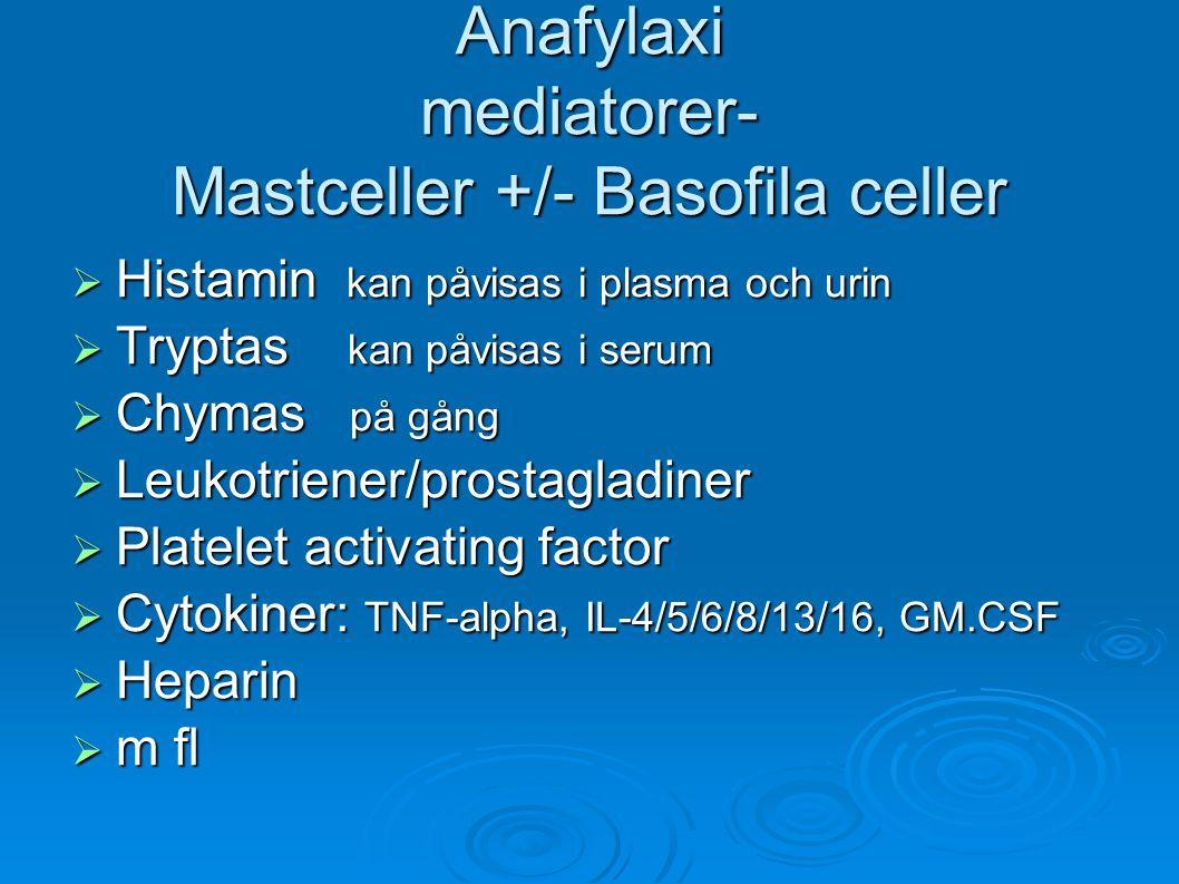 Anafylaxi mediatorer- Mastceller +/- Basofila celler  Histamin kan påvisas i plasma och urin  Tryptas kan påvisas i serum  Chymas på gång  Leukotriener/prostagladiner  Platelet activating factor  Cytokiner: TNF-alpha, IL-4/5/6/8/13/16, GM.CSF  Heparin  m fl