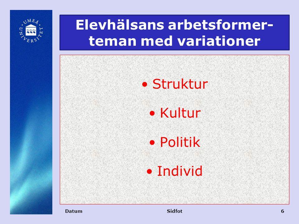 Elevhälsans arbetsformer- teman med variationer Struktur Kultur Politik Individ DatumSidfot6
