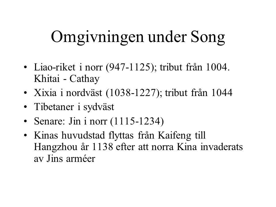 Omgivningen under Song Liao-riket i norr (947-1125); tribut från 1004.