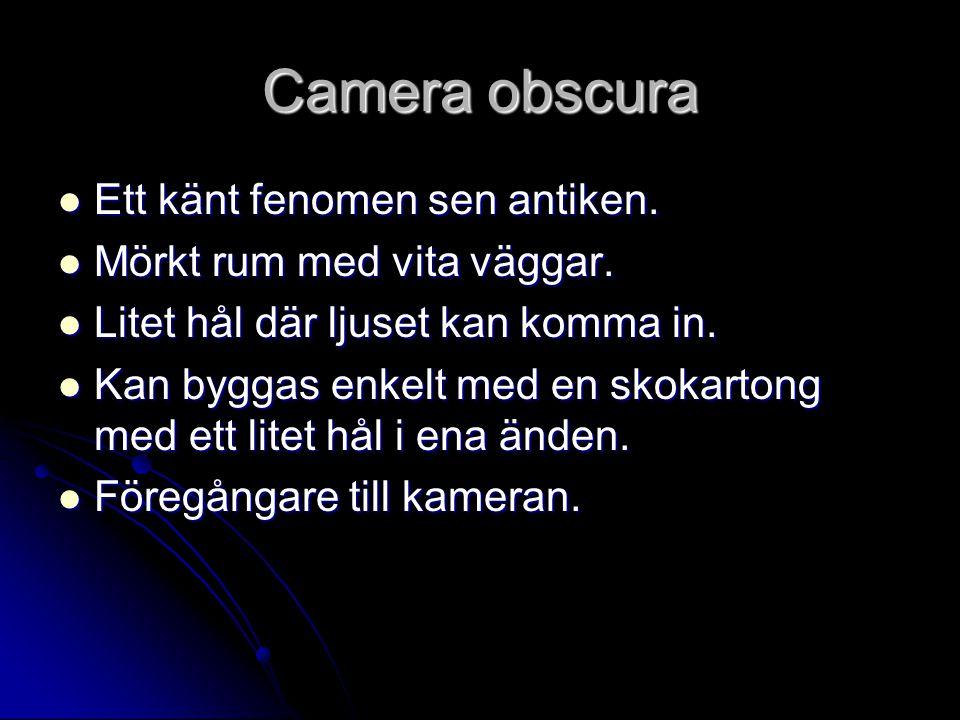 Camera obscura Ett känt fenomen sen antiken.Ett känt fenomen sen antiken.