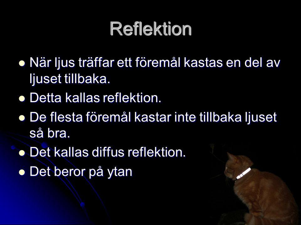 Reflektion När ljus träffar ett föremål kastas en del av ljuset tillbaka.