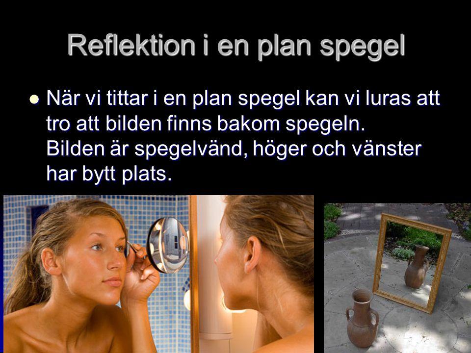 Reflektion i en plan spegel När vi tittar i en plan spegel kan vi luras att tro att bilden finns bakom spegeln.