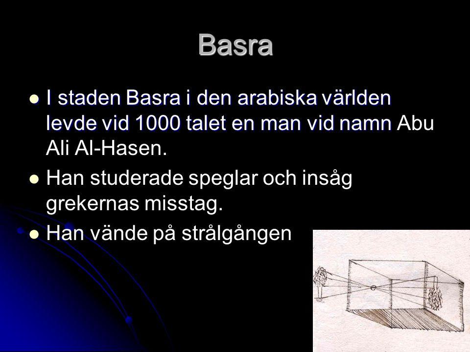 Basra I staden Basra i den arabiska världen levde vid 1000 talet en man vid namn I staden Basra i den arabiska världen levde vid 1000 talet en man vid namn Abu Ali Al-Hasen.