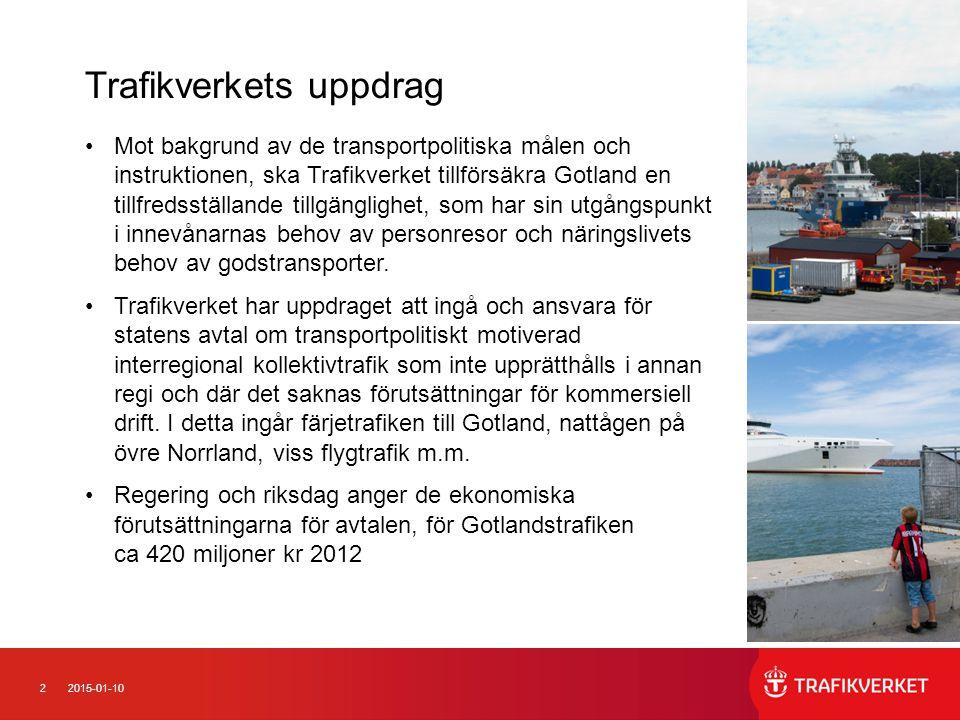 22015-01-10 Mot bakgrund av de transportpolitiska målen och instruktionen, ska Trafikverket tillförsäkra Gotland en tillfredsställande tillgänglighet, som har sin utgångspunkt i innevånarnas behov av personresor och näringslivets behov av godstransporter.