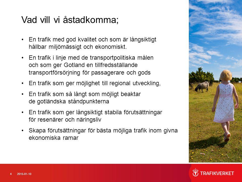 42015-01-10 En trafik med god kvalitet och som är långsiktigt hållbar miljömässigt och ekonomiskt.